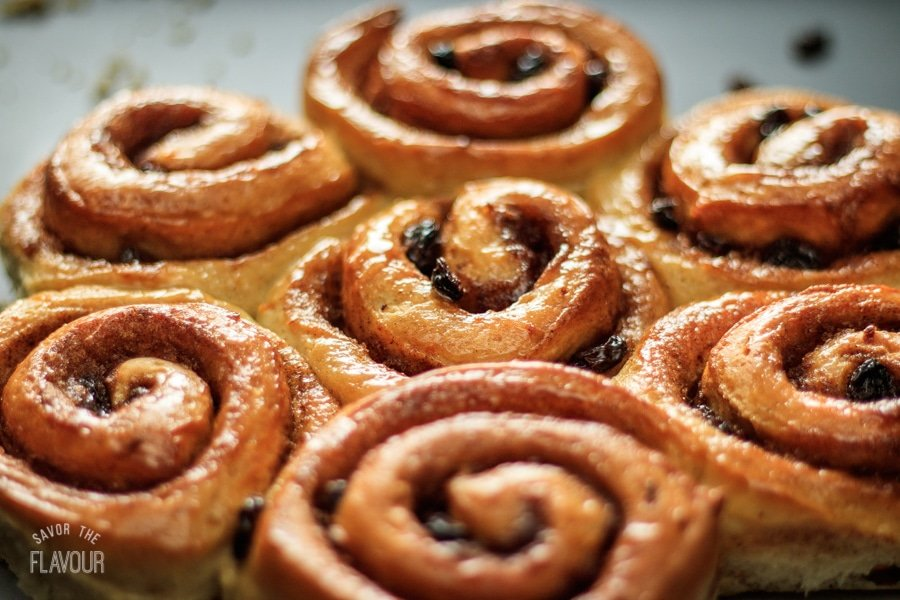 closeup of cinnamon buns