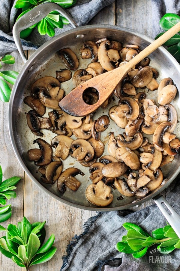 cooked mushrooms for green beans with bacon and mushrooms