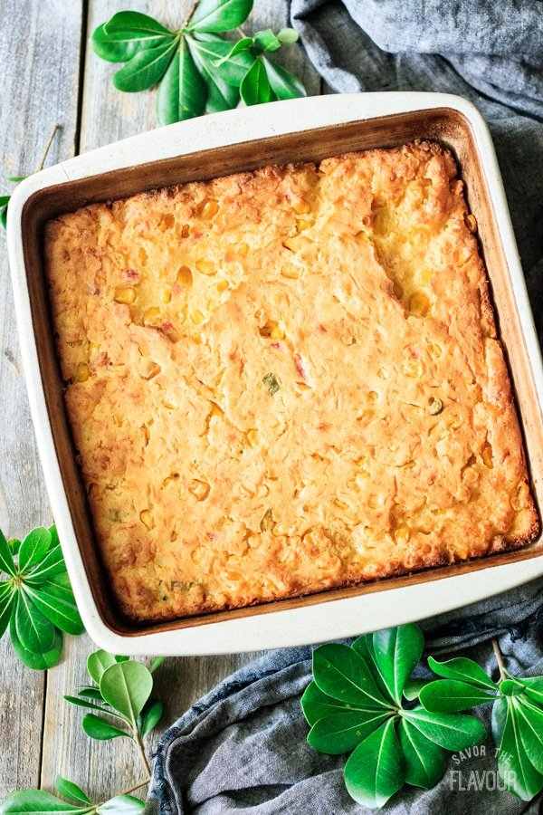 baked corn casserole in the pan