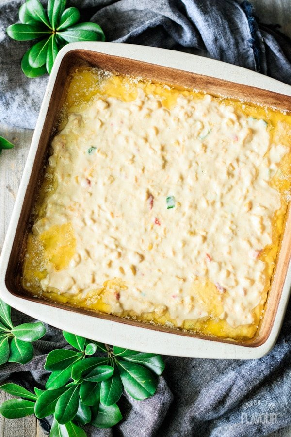 corn casserole batter in the pan
