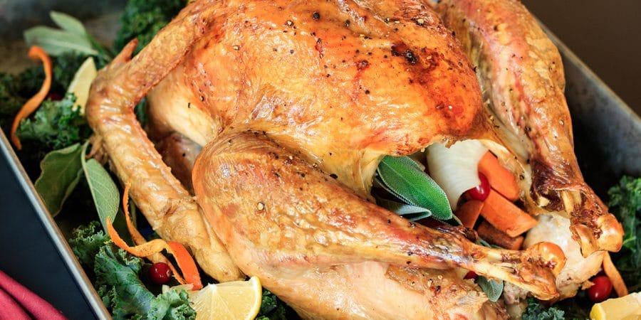 roasted turkey in a pan