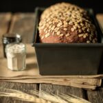 loaf of multigrain bread in the pan