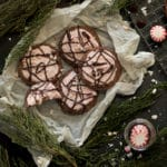 chocolate peppermint cookies on parchment paper
