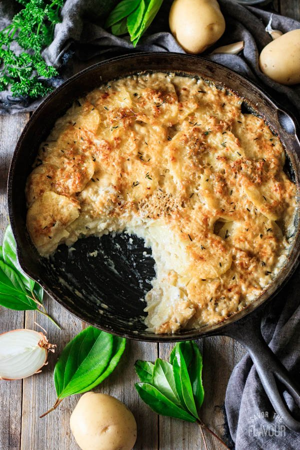 skillet of scalloped potatoes