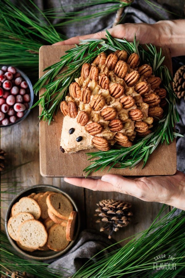 holding the woodland hedgehog cheese ball