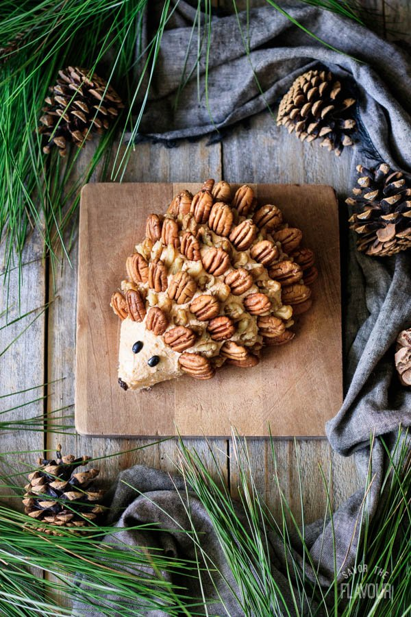 putting pecans and walnuts on hedgehog cheese ball