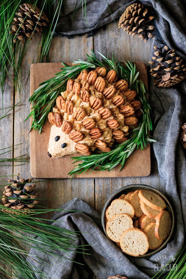 woodland hedgehog cheese ball with fresh rosemary