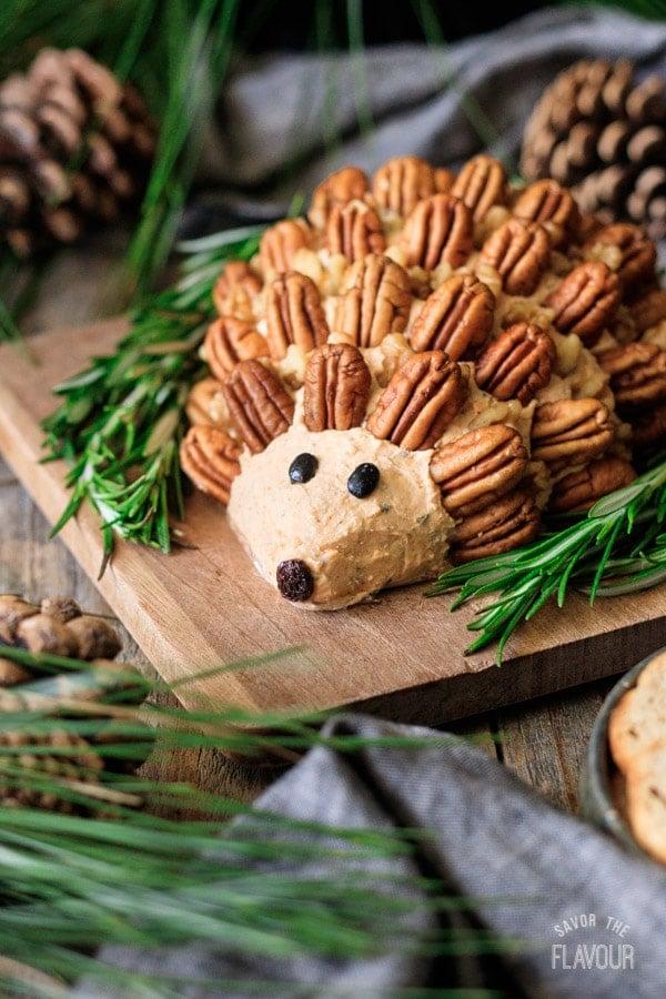 closeup of hedgehog cheese ball
