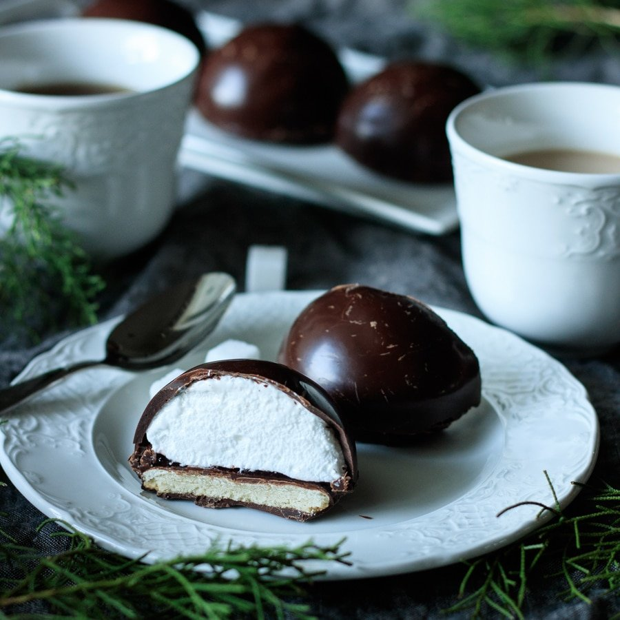 chocolate teacake on a plate with a teacup