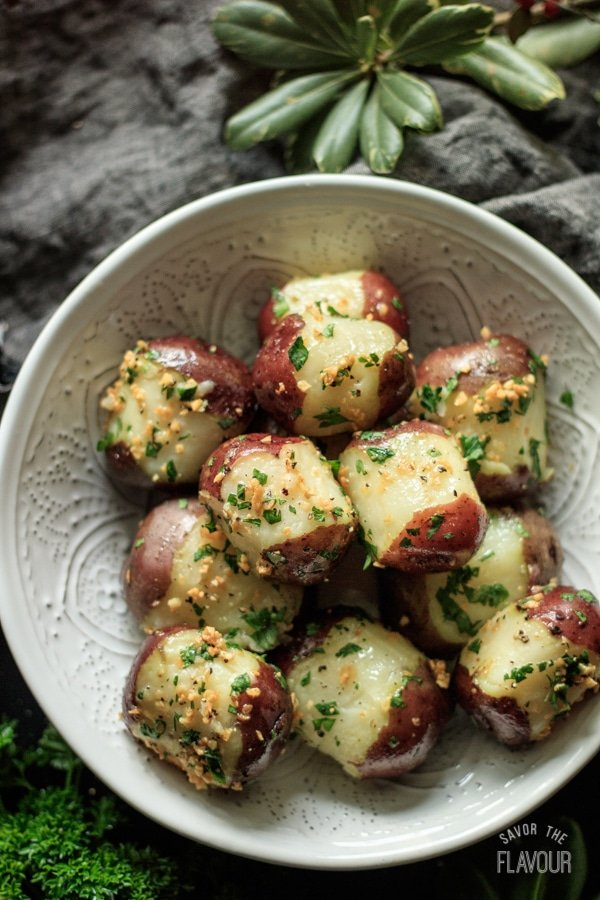 bowl of garlic parsley potatoes
