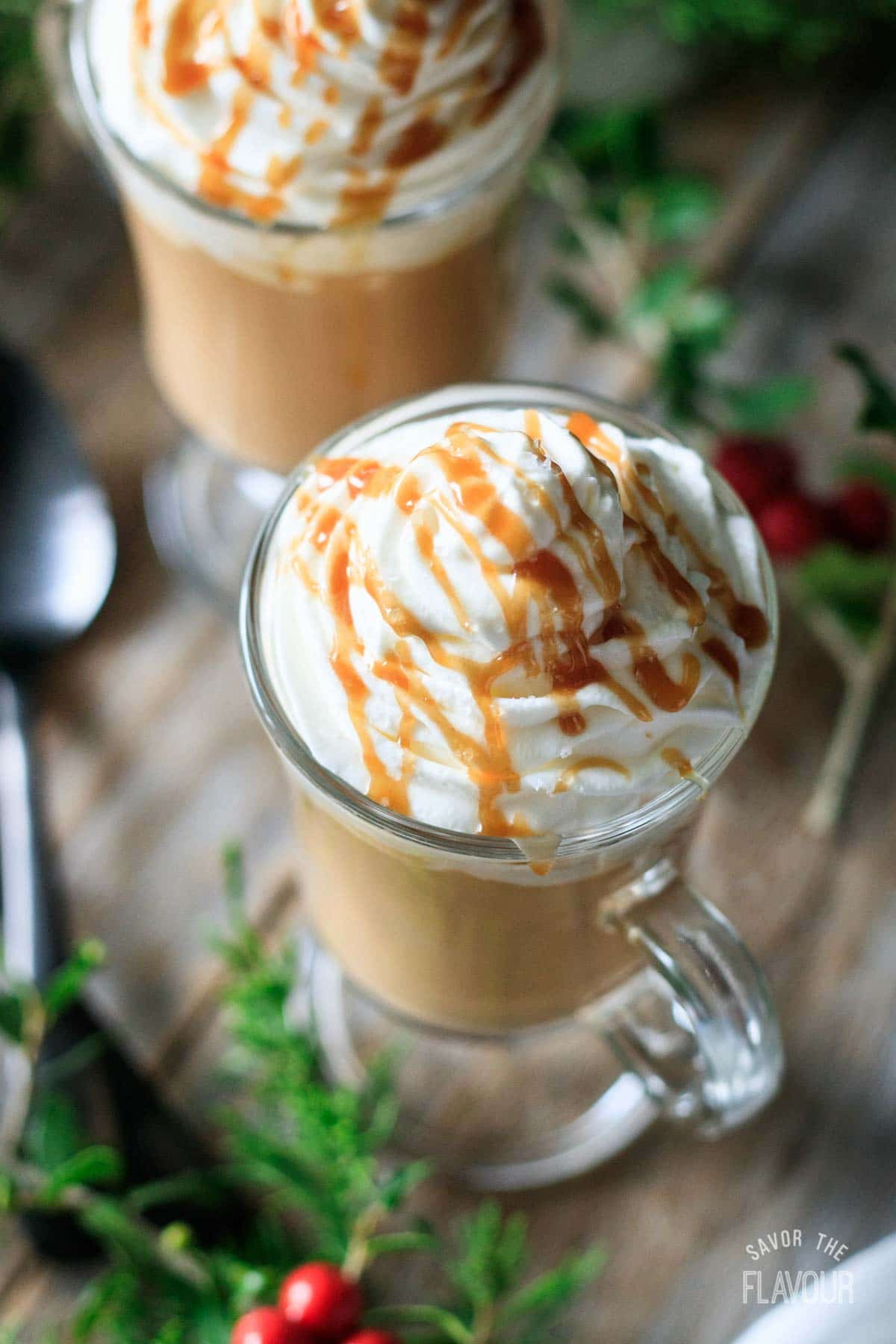 glass of salted caramel mocha with whipped cream