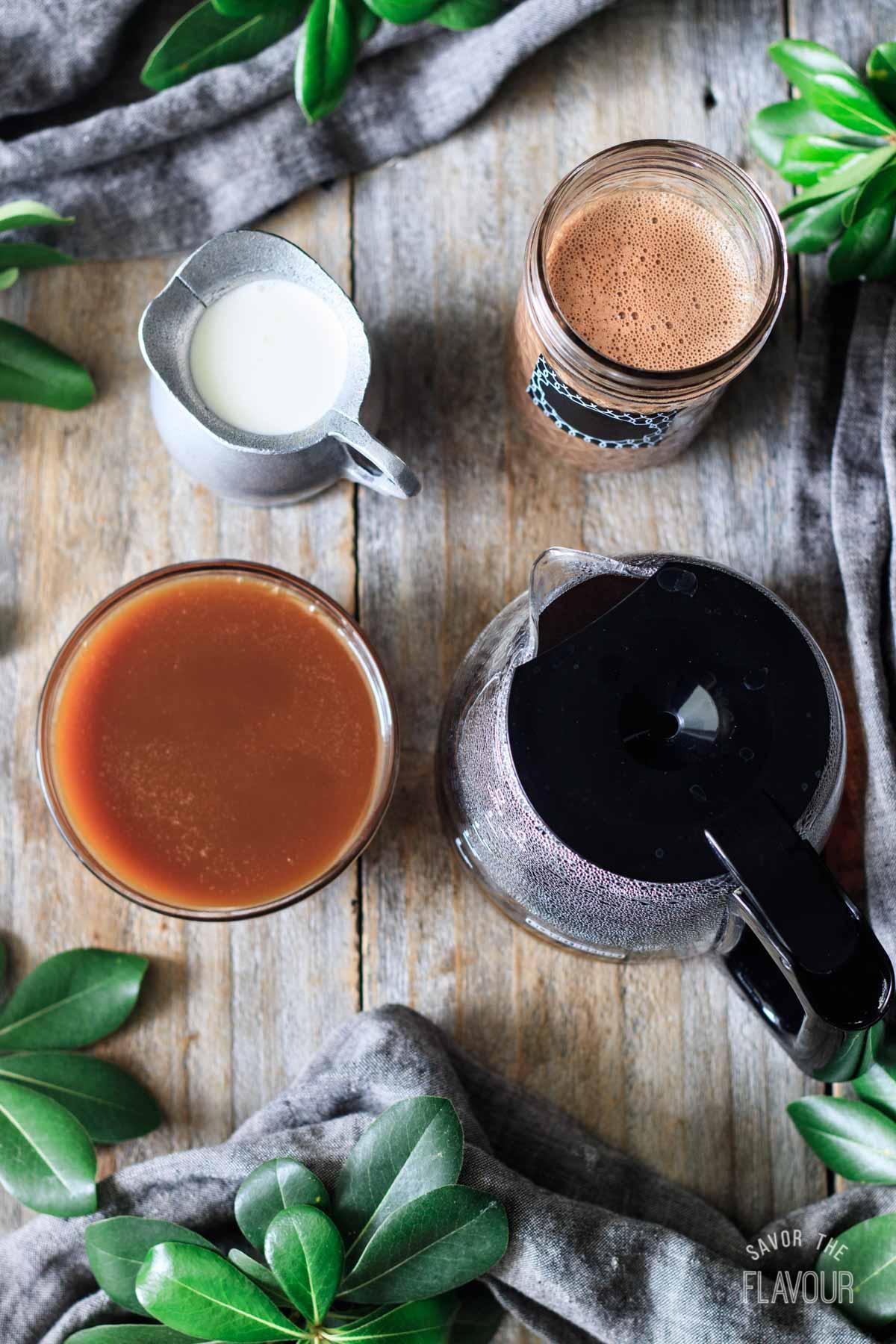 coffee, caramel sauce, chocolate milk, and heavy cream