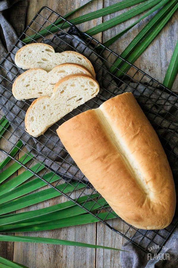 slices of Cuban bread with the loaf