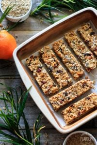 pan of granola bars with greenery
