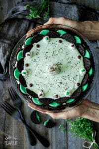person holding a frozen grasshopper pie
