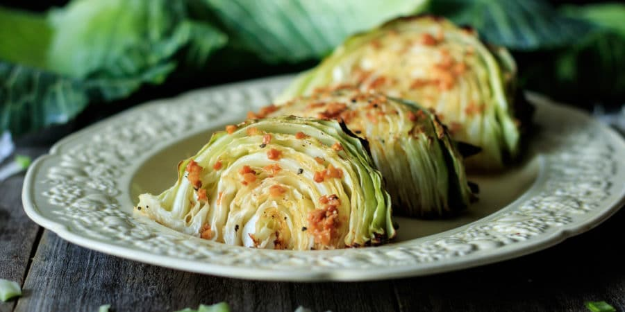 roasted cabbage wedges on a plate