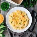 bowl of cheese grits casserole