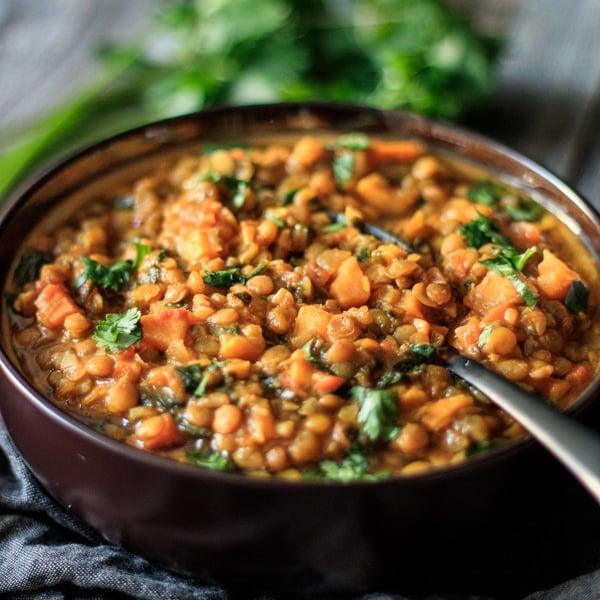 bowl of Moroccan lentil stew