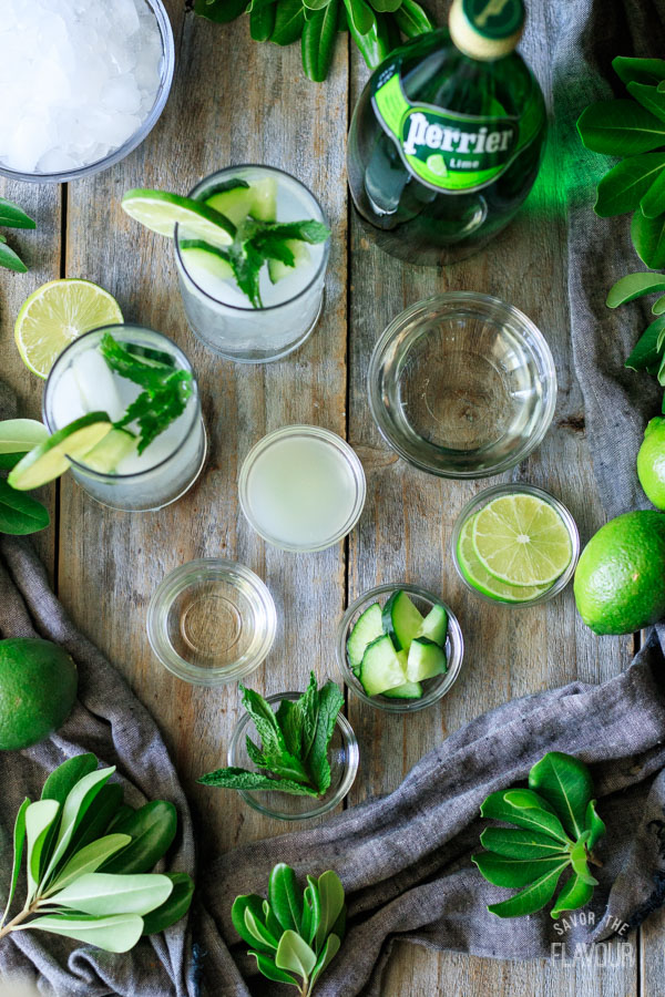 ingredients for lime and mint refresher