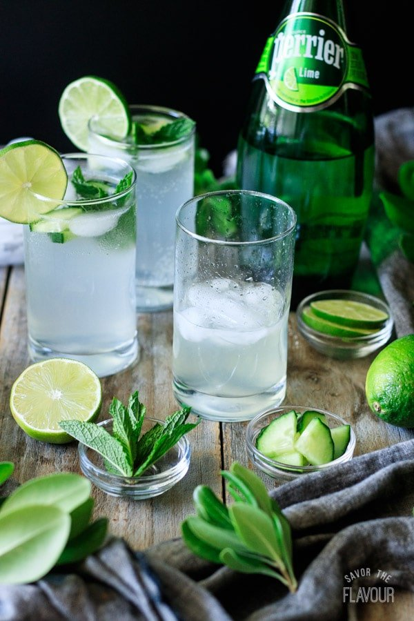 glass filled with lime juice, simple syrup, and ice