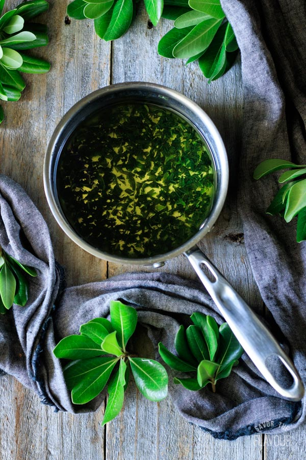 pot of mint infused simple syrup
