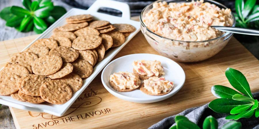 crackers with a bowl of pimento cheese