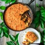 skillet chilli cornbread with greenery