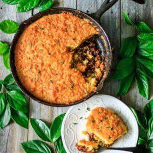 skillet chilli cornbread with greenery