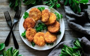 white plate of fried green tomatoes