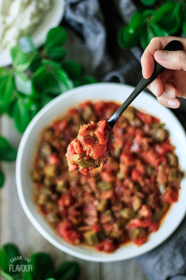 spoonful of skillet Southern okra and tomatoes
