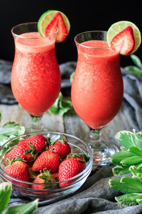 two glasses of non alcoholic strawberry daiquiri