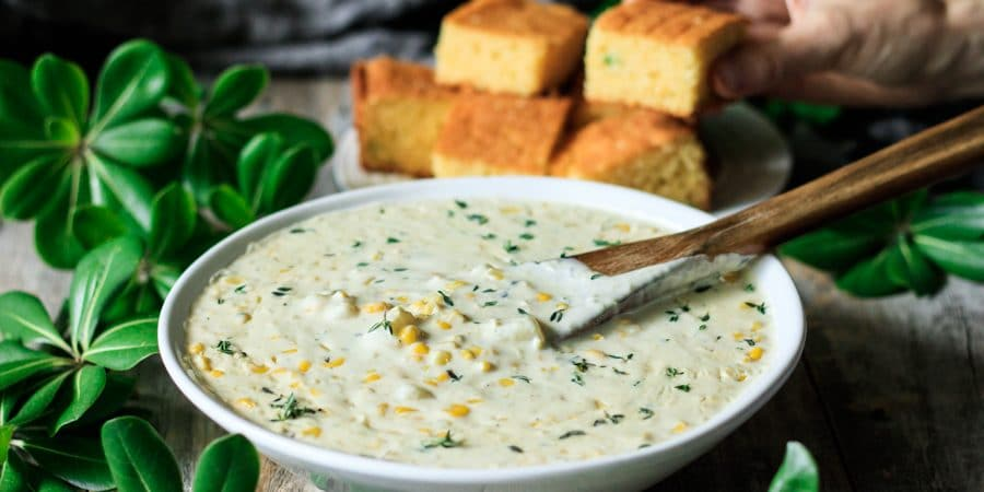 bowl of sweet corn chowder with cornbread