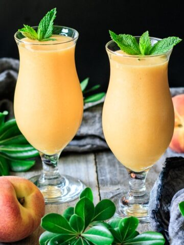 two virgin peach daiquiri drinks