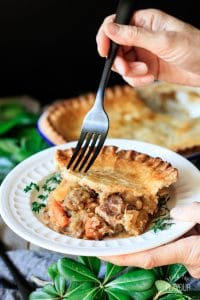 holding a plate of beef and potato pie with a fork