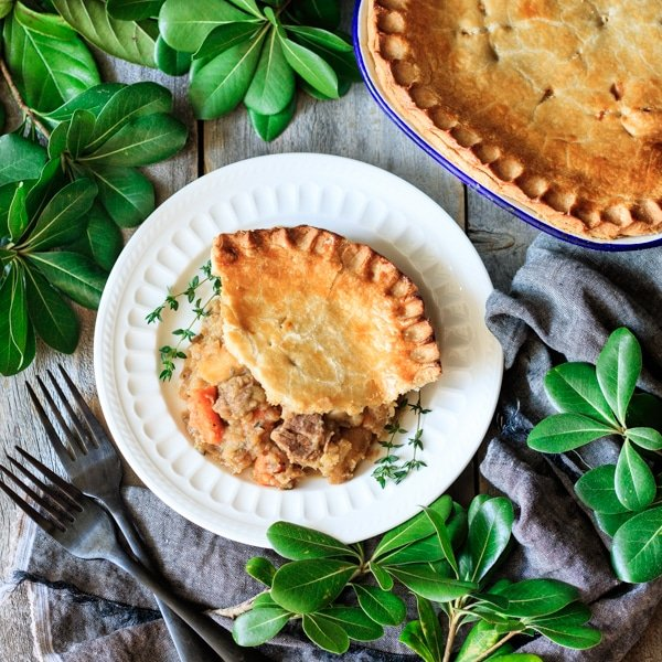 slice of beef and potato pie on a plate