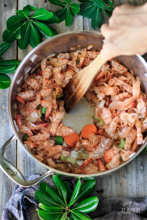 deglazed pan for seafood stock