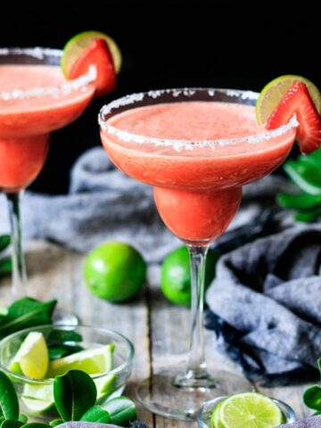 two glasses of non alcoholic strawberry margarita
