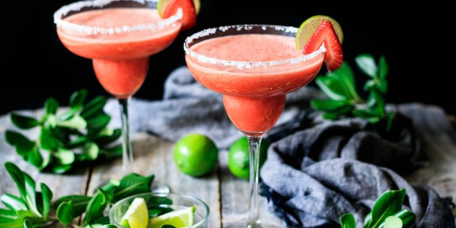 two glasses of non alcoholic strawberry margarita