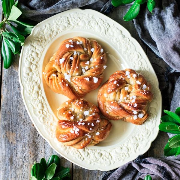 plate of Swedish cardamom buns