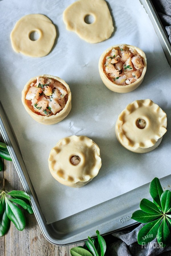 filling the chicken, bacon, and apricot pies