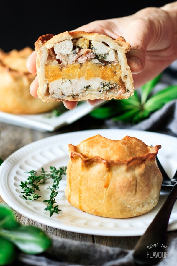 chicken, bacon, and apricot pie made with hot water crust pastry