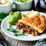slice of minced beef pie on a plate