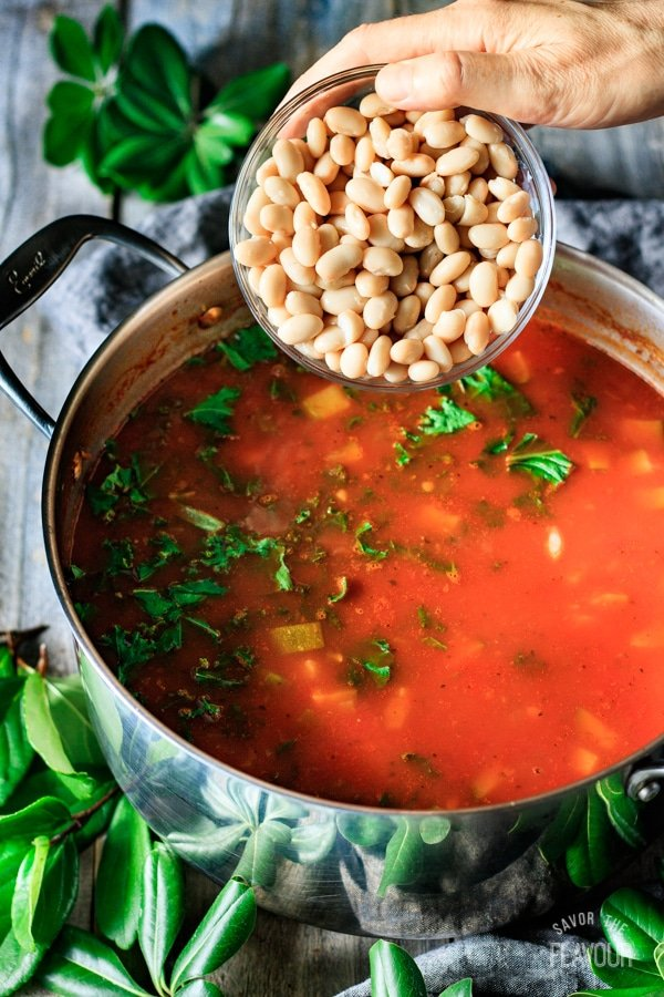 adding beans to minestrone soup