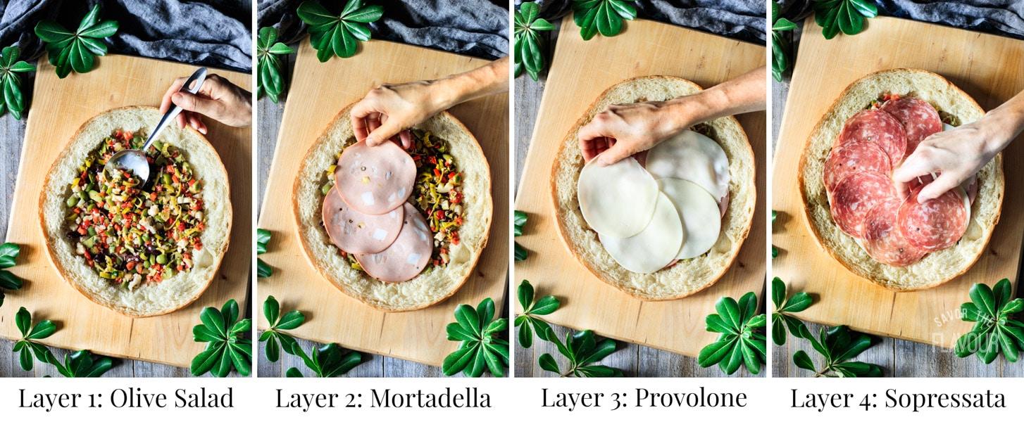 layering ingredients for muffaletta sandwich