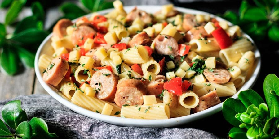bowl of sausage, pear, and gouda rigatoni