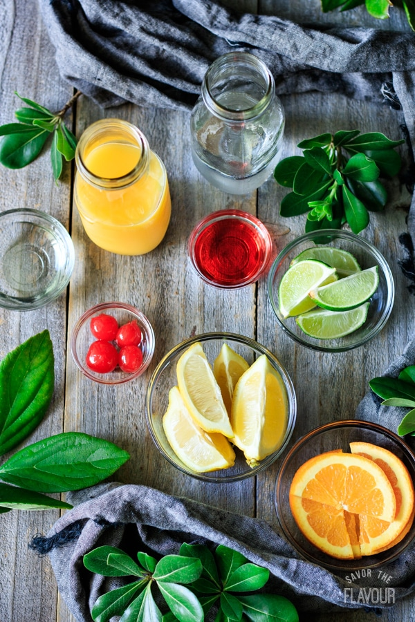 ingredients for sweet sunrise drinks