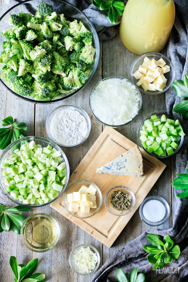 ingredients for broccoli and Stilton soup