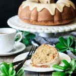slice of maple walnut bundt cake on a plate