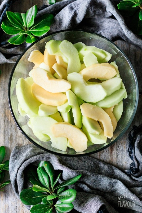 apple slices in a bowl for fried apples