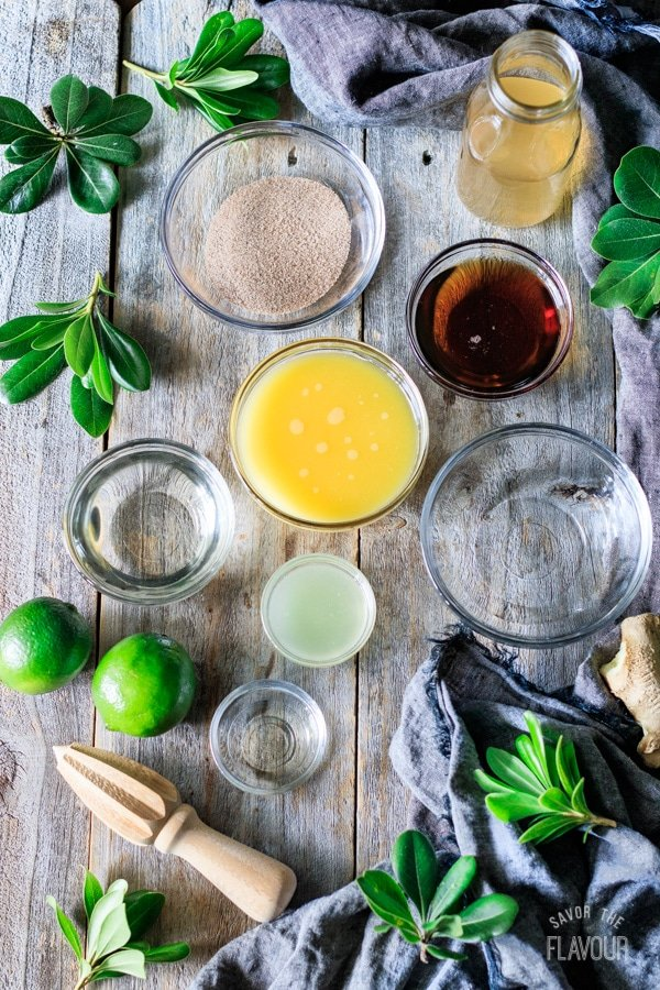 ingredients for ginger beer mocktail with lime
